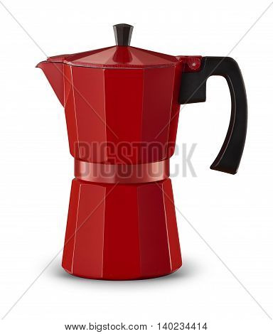 Studio shot of Red percolator on white background with drop shadow