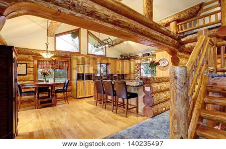 Log Cabin House Interior Of Dining And Kitchen Room