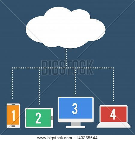Vector stock of network file sharing using cloud computing