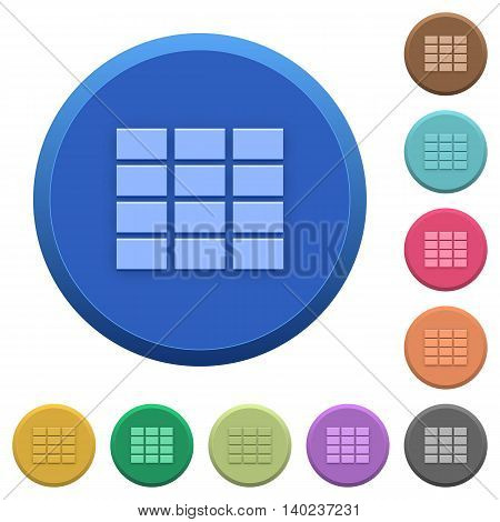 Set of round color embossed spreadsheet buttons