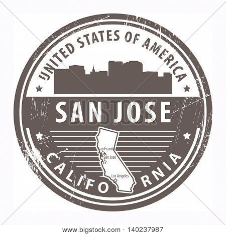 Grunge rubber stamp with name of California, San Jose, vector illustration