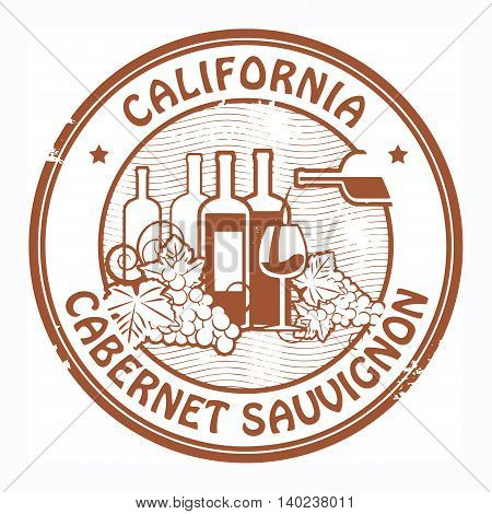 Grunge rubber stamp with words California, Cabernet Sauvignon, vector illustration