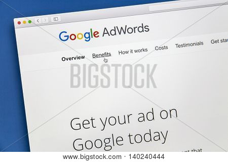 Ostersund, Sweden - July 28, 2016: Google Adwords website on a computer screen. Google AdWords is an online advertising service.