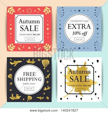 Set of social media or online shop banner design. Trendy vector ad sale and clearance backgrounds