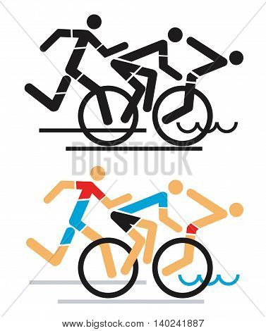 hree triathlon athletes icon, black and color variation. Vector available.