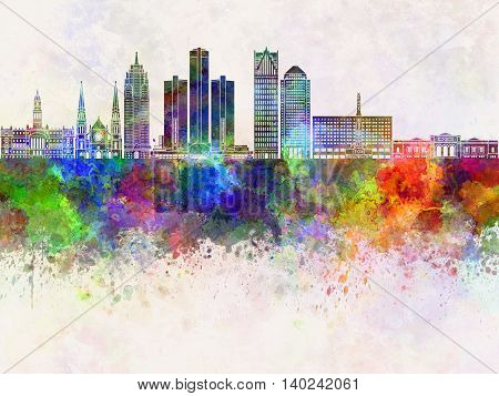Detroit skyline artistic abstract in watercolor background