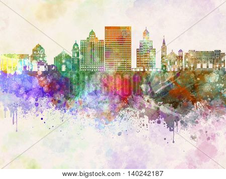 El Paso skyline artistic abstract in watercolor background