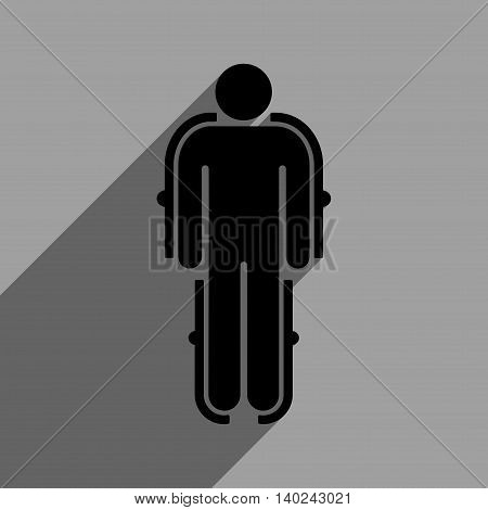 Exoskeleton long shadow vector icon. Style is a flat exoskeleton black iconic symbol on a gray square background with longshadow.