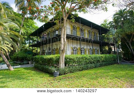 KEY WEST FLORIDA USA - MAY 03 2016: The Ernest Hemingway House with garden in Key West in Florida.