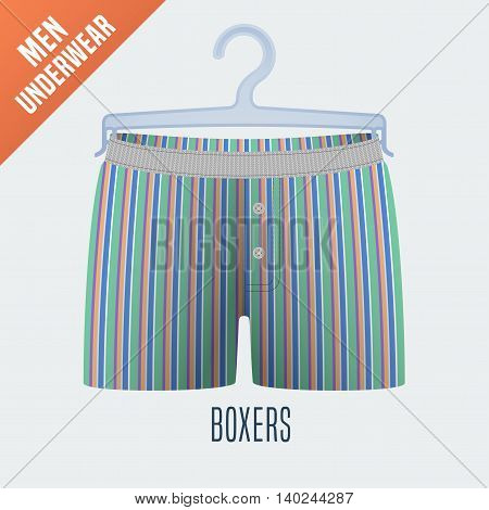 Men's underwear vector illustration. Design element of clothing detail on hanger display for retail, cloakroom. Men boxers underwear model