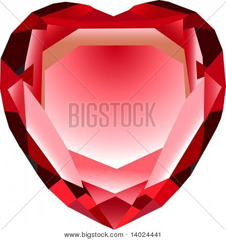 vector red hearth shaped crystal