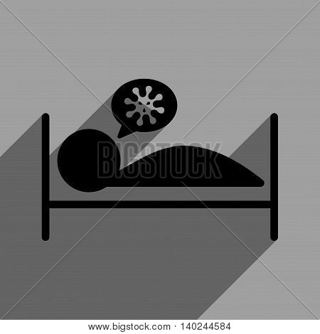 Infected Patient Bed long shadow vector icon. Style is a flat infected patient bed black iconic symbol on a gray square background with longshadow.