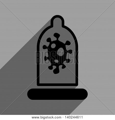 Infection Condom Protection long shadow vector icon. Style is a flat infection condom protection black iconic symbol on a gray square background with longshadow.