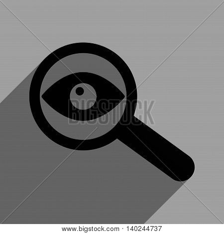 Investigate Vision long shadow vector icon. Style is a flat investigate vision black iconic symbol on a gray square background with longshadow.