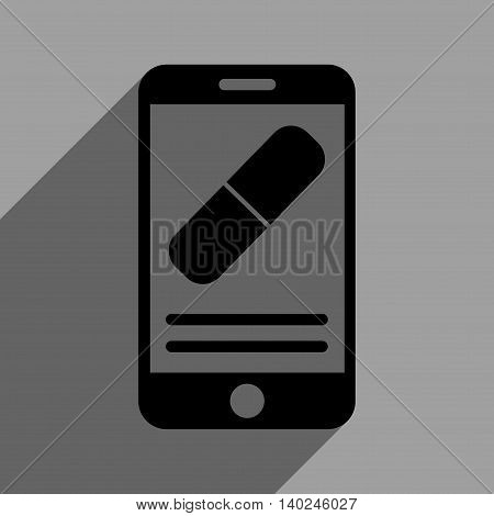 Medication Mobile Information long shadow vector icon. Style is a flat medication mobile information black iconic symbol on a gray square background with longshadow.
