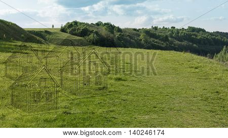 Imaginary houses on the green field on a background of forest and hills