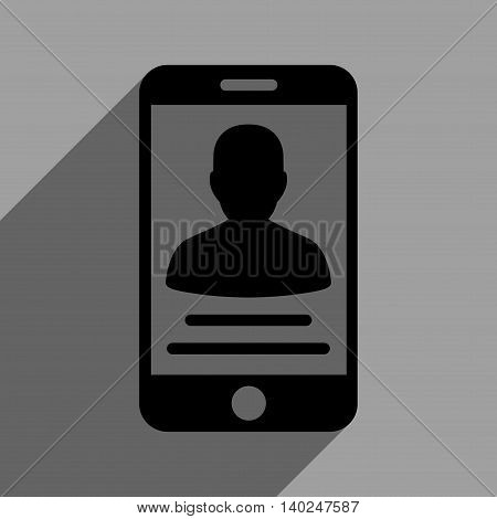 Patient Mobile Account long shadow vector icon. Style is a flat patient mobile account black iconic symbol on a gray square background with longshadow.