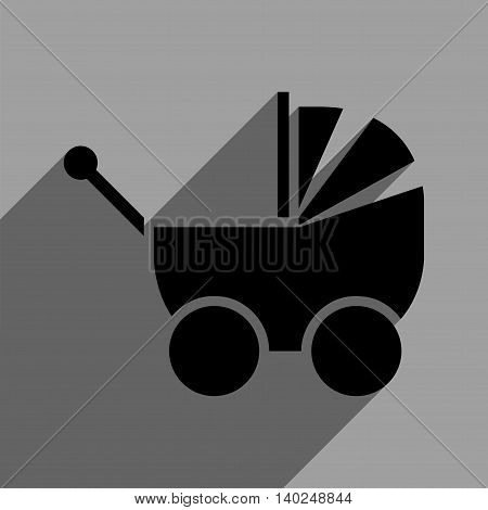 Pram long shadow vector icon. Style is a flat pram black iconic symbol on a gray square background with longshadow.