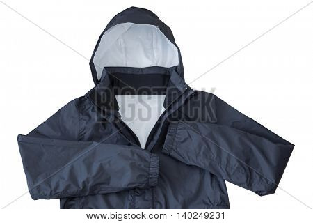Waterproof windproof breathable venture Rain jacket with hood in black color isolated on white background