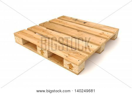 3D illustration of Wooden pallet Isolated on white background.