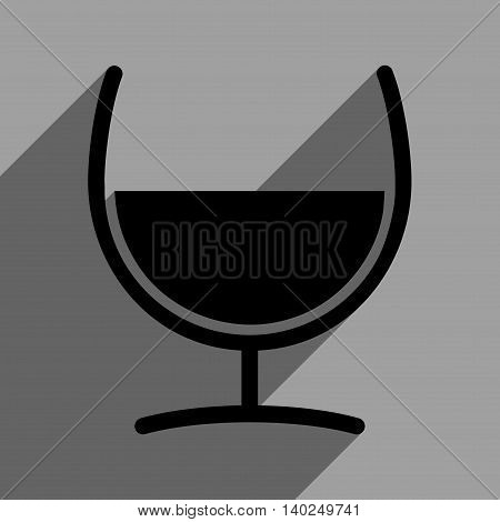 Remedy Glass long shadow vector icon. Style is a flat remedy glass black iconic symbol on a gray square background with longshadow.