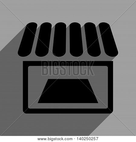 Shop Facade long shadow vector icon. Style is a flat shop facade black iconic symbol on a gray square background with longshadow.