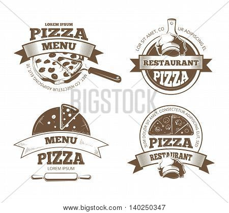 Retro pizzeria vector labels, logos, badges, emblems with pizza icons. Pizzeria logo restaurant and vintage emblem for pizzeria illustration