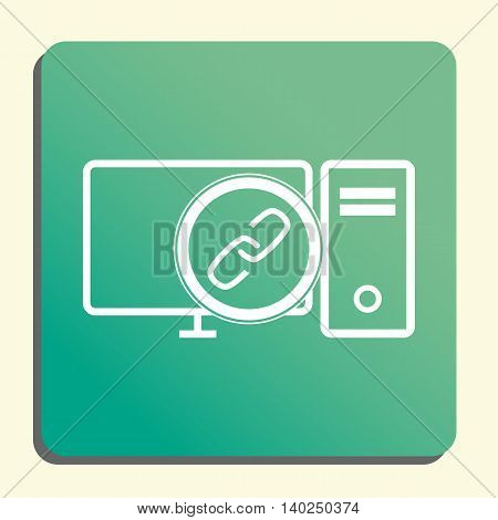 Pc Link Icon In Vector Format. Premium Quality Pc Link Symbol. Web Graphic Pc Link Sign On Green Lig