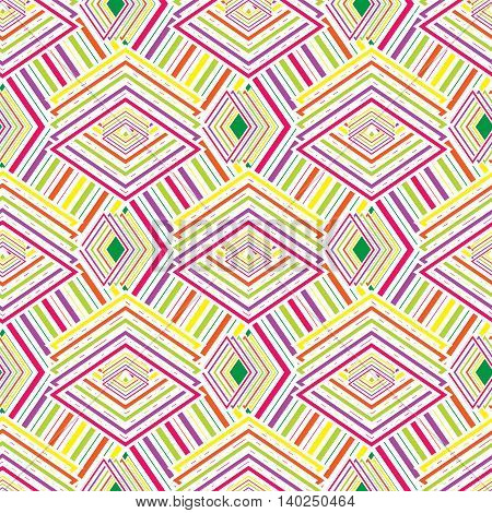 Multicolored geometric seamless rhombic pattern for background