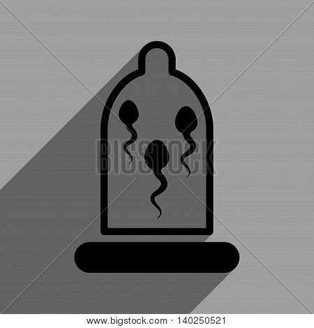 Sperm in Condom long shadow vector icon. Style is a flat Sperm in condom black iconic symbol on a gray square background with longshadow.