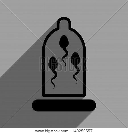 Sperm Protection long shadow vector icon. Style is a flat sperm protection black iconic symbol on a gray square background with longshadow.
