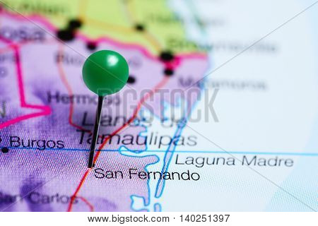 San Fernando pinned on a map of Mexico