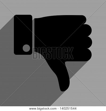 Thumb Down long shadow vector icon. Style is a flat thumb down black iconic symbol on a gray square background with longshadow.