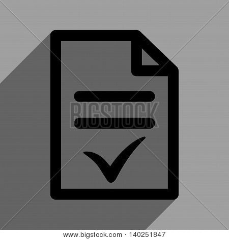 Valid Document long shadow vector icon. Style is a flat valid document black iconic symbol on a gray square background with longshadow.