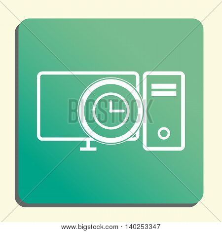 Pc Time Icon In Vector Format. Premium Quality Pc Time Symbol. Web Graphic Pc Time Sign On Green Lig
