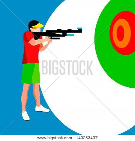 Shooting Player 2016 Summer Games. 3D Isometric Shooter Athlete. Sporting Championship International Shooting Competition. Vector Illustration