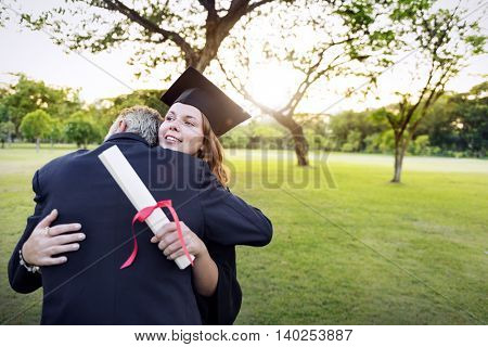 Graduation Day Grandfather Proud Hugging Concept