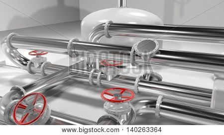 3D shiny metallic pipes and red control wheels in a pipes structure. Generic industry, technology and engineering background. 3D rendering.