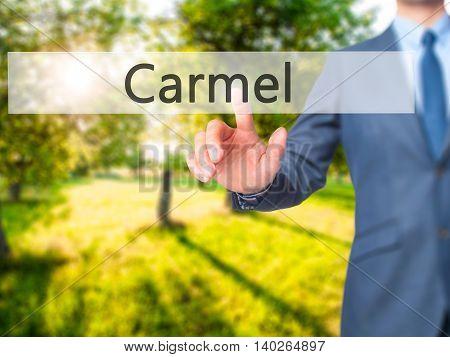 Carmel -  Businessman Press On Digital Screen.