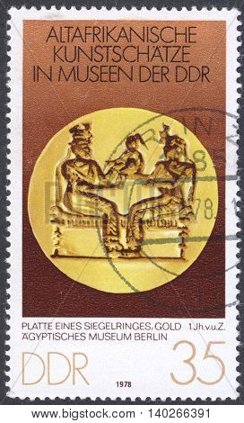 MOSCOW RUSSIA - CIRCA MAY 2016: a post stamp printed in DDR shows a signet ring the series