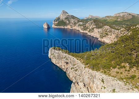 Cape Formentor on the north of Mallorca one of the most beautiful islands of Spain. From the cape offers a great view on the vast expanses and crystal clear water
