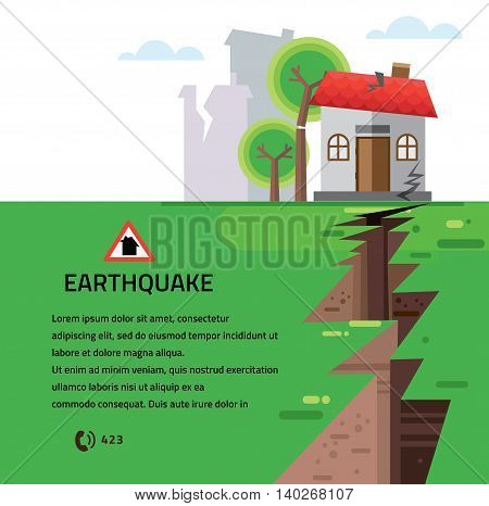 Earthquake Insurance Colourful Vector Illustration flat style