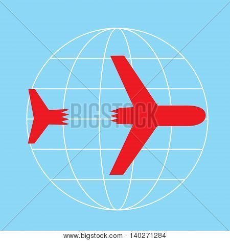 vector picture of a plane that crashes from accidents or from terrorist attacks. The plane on the background of the globe