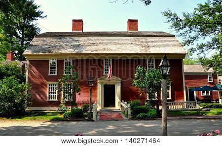 Sudbury Massachusetts - July 12 2013: Colonial 1716 Wayside Inn immortalised by poet Henry Wadsworth Longfellow in his