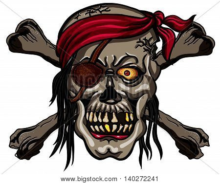 Danger pirate skull in bandanna and crossbones for tattoo or t-shirt design