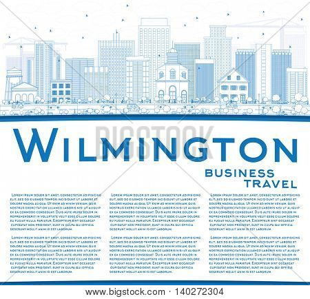 Outline Wilmington Skyline with Blue Buildings and Copy Space. Vector Illustration. Business Travel and Tourism Concept with Modern Buildings. Image for Presentation Banner Placard and Web Site.