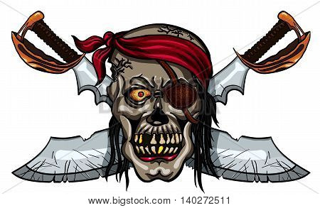 Danger pirate skull in bandanna and crossed swords for tattoo or t-shirt design