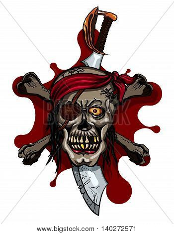 Pirate Skull in Red Headband with Cross Swords on bloodstain