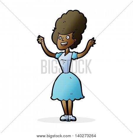 cartoon happy 1950's woman