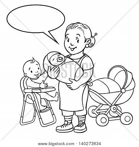 Coloring book of funny smiling woman, mother or nanny with a baby and another one on the highchair near the stroller. Profession ABC series. Children vector illustration. With balloon for text.